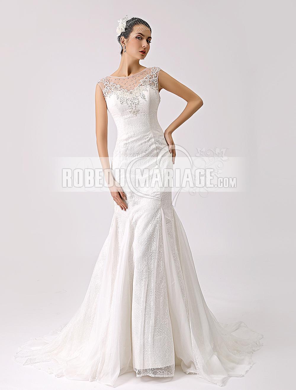 Robes de mariage Col rond robe de mariée sirène dentelle tulle applique ornée de strass
