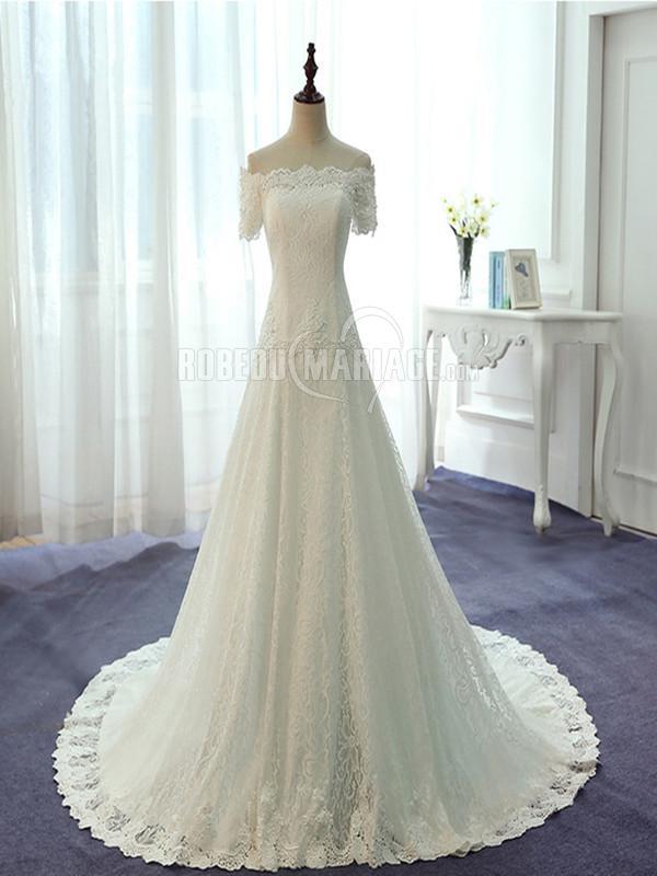 A-ligne robe de mariée col en bateau en satin dentelle perle