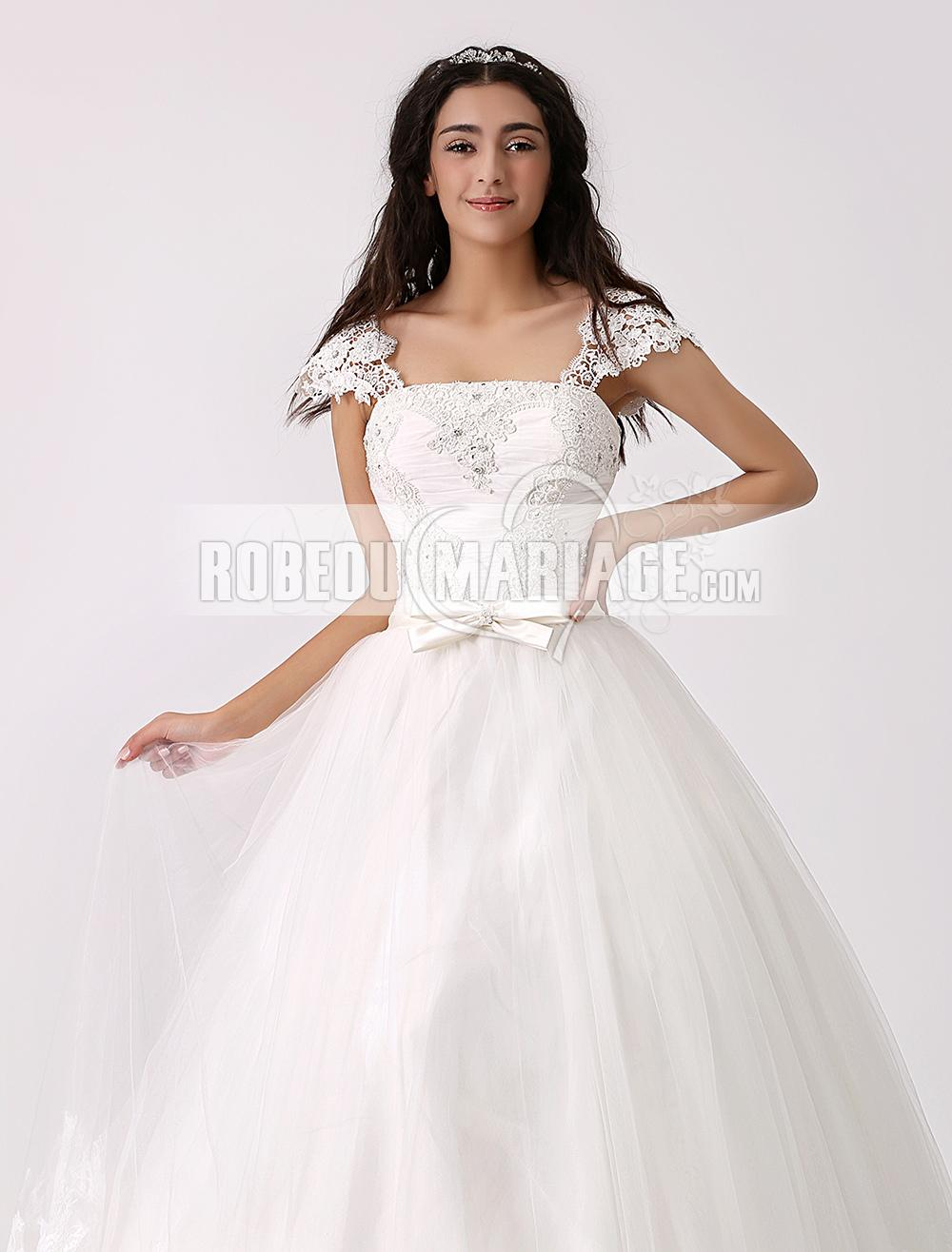 Robe de mariée Nouveauté robe de mariée ample dentelle tulle applique