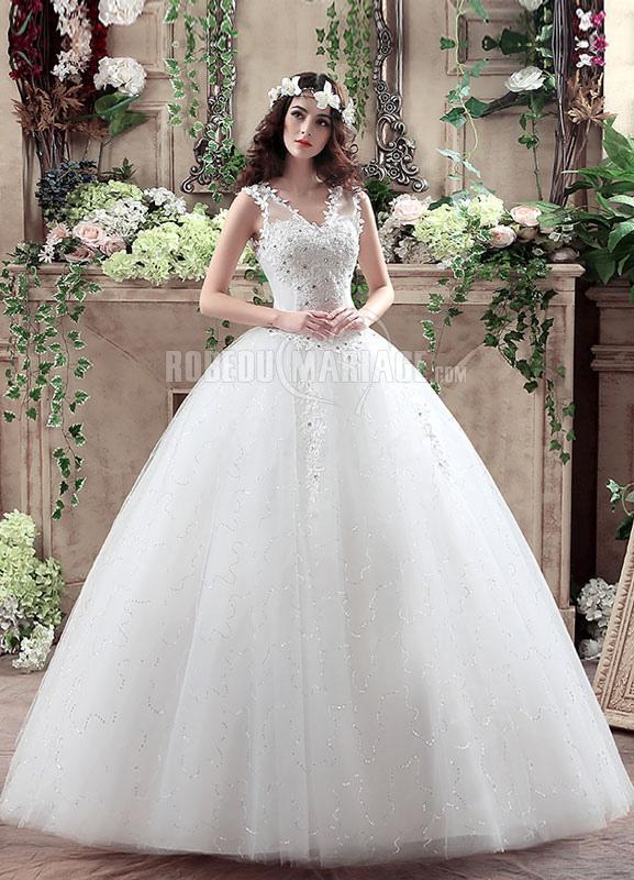 Robe de mariée col en V en tulle ample applique