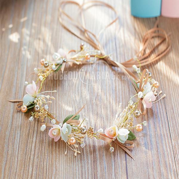 Robedumariage FR Bandeau de marié à fleurs alliage perles