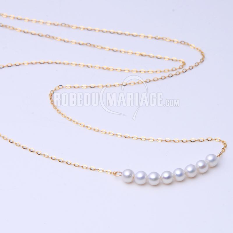 Bijoux Collier en or avec perles blanches diamètre de 3-4mm