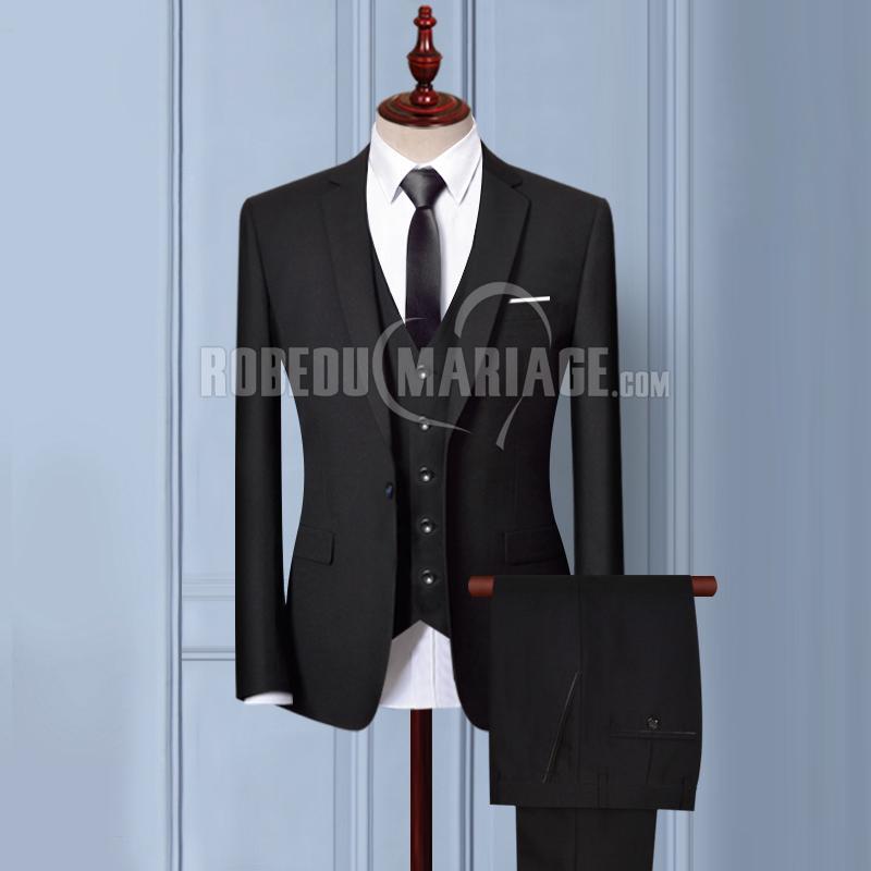 Costume du marié Noir costume mariage 2 ou 3 pièces veste pantalon gilet avec 6 cadeaux gratuits