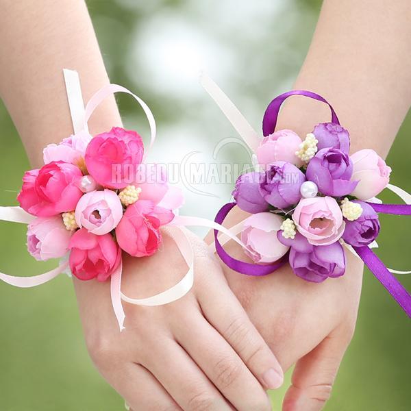 Robedumariage FR Fleur de poignet avec lastex pour mariage décoré de 10 petits fleurs