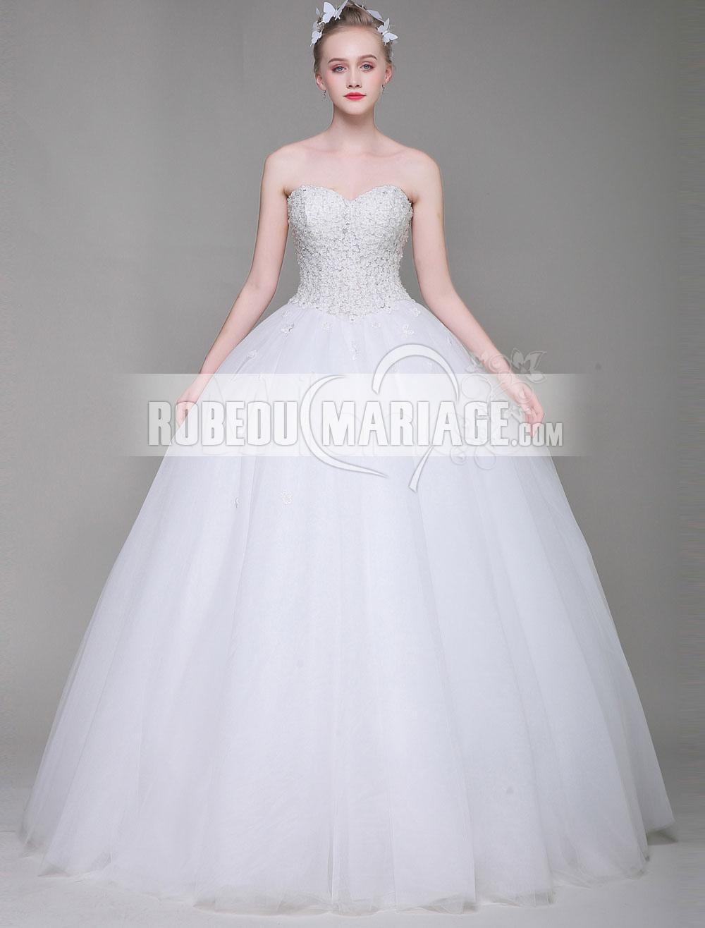 Robedumariage FR Laçage au dos Robe de mariée bustier ornée d'appliques Col en cœur