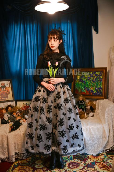 Robedumariage FR Robe élégante Buste en velours Bas en organza ornée de fleurs en velours