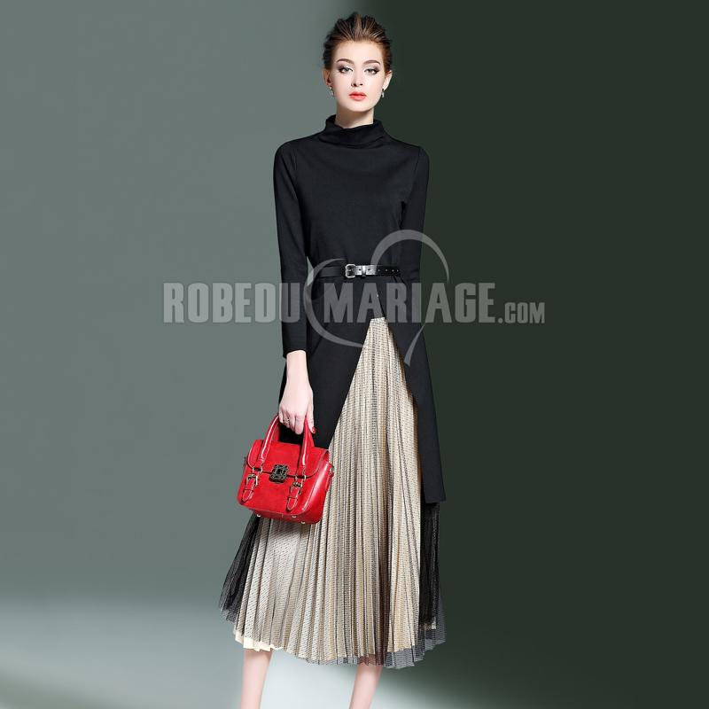 2 pièces Vêtement ornée de ceinture et Jupe en nylon pour automne