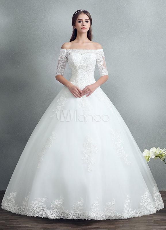 Robe de mariée Avec manches Robe de mariée ornée d'appliques et de perles