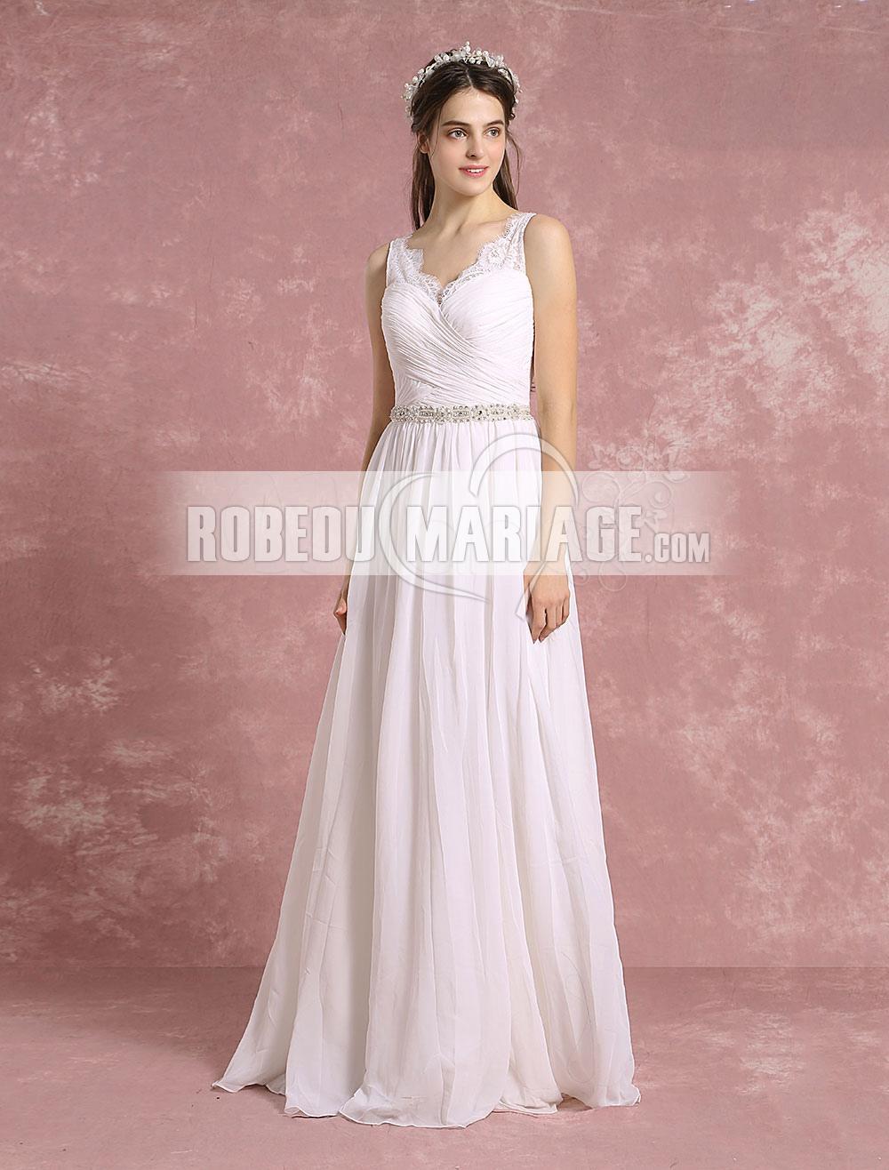 Robe de mariée Robe de mariée élégants Strass et perles sur la taille