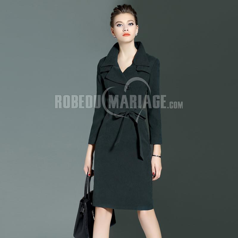 Robedumariage FR Robe avec ceinture en tissu simple Robe avec manches