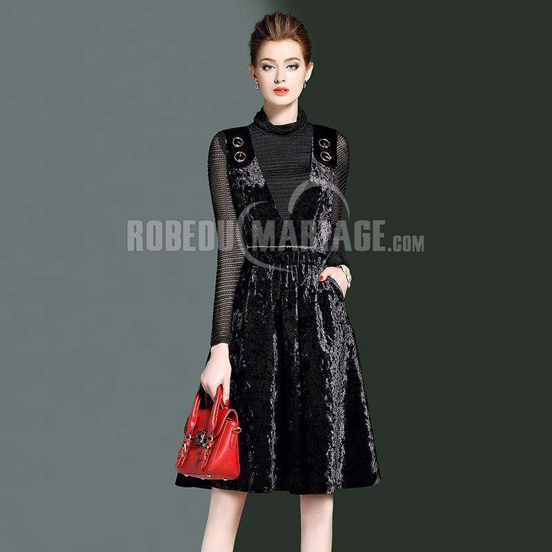 Robedumariage FR Vêtement avec 2 pièces Robe en velours et vêtement en tulle