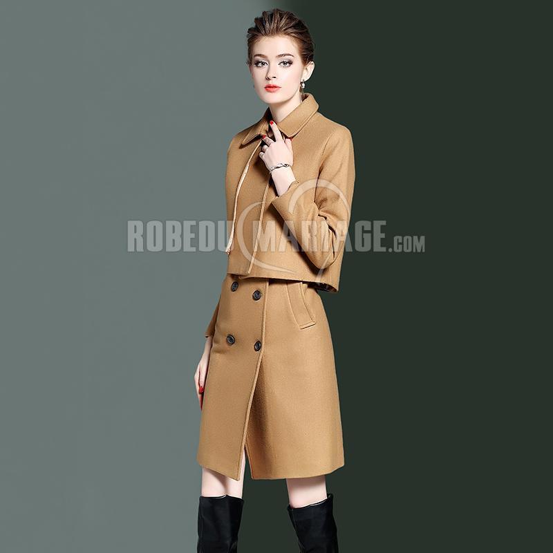 Robedumariage FR 2 pièces Robe sans manches et Veste en laine à la mode
