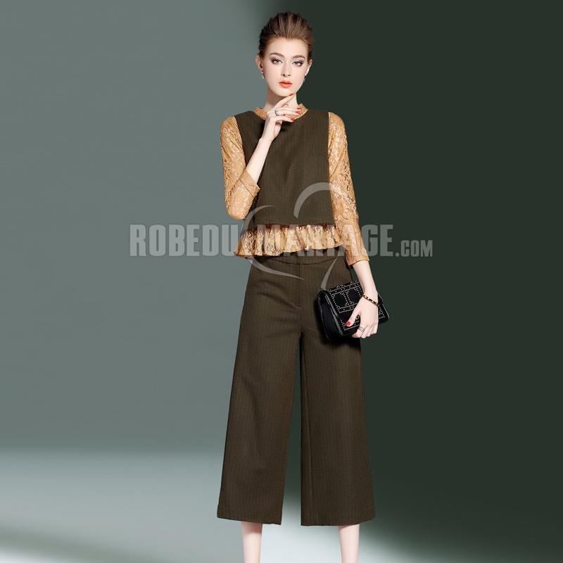 Robedumariage FR 3 pièces Vêtement en dentelle et Gilet et Pantalon