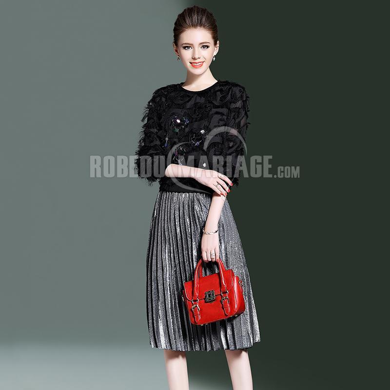 Robedumariage FR Vêtement avec manches décoré de paillettes et Jupe de pli