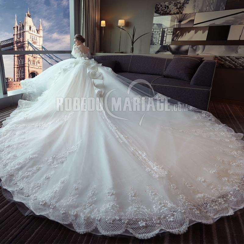 Robe de mariage princesse 2019 col en V avec